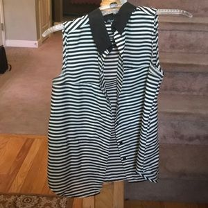 Ivory and black striped button down blouse 👚